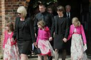 Steve Barber's long term partner Donna Rogers (left) and John Taylor's widow Karine Taylor leave St Everilda's Church, Nether Poppleton, after the joint memorial service.