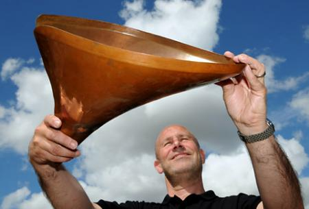 Sales director Simon Wood with a prototype of the copper petals which were used in the London 2012 Olympics opening and were made by Stage One in Tockwith, near York.