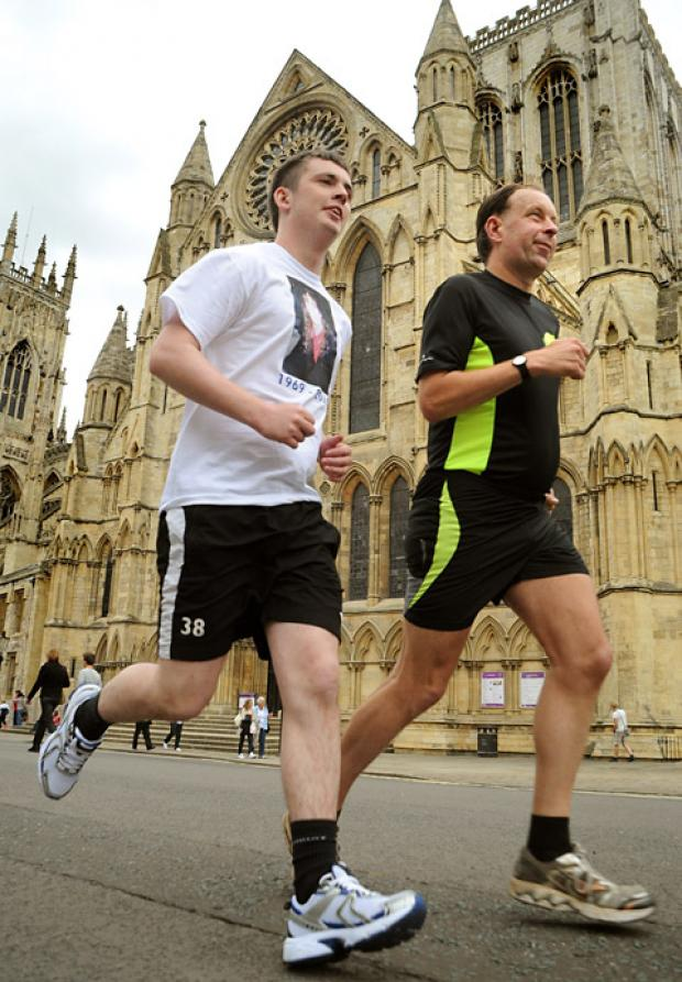 Andrew Lea, left, and his uncle, Colin Lea, who are running in Sunday's York 10K in memory of Andrew's mother, who died of cancer at the age of 42. They will be raising money for St Leonard's Hospice