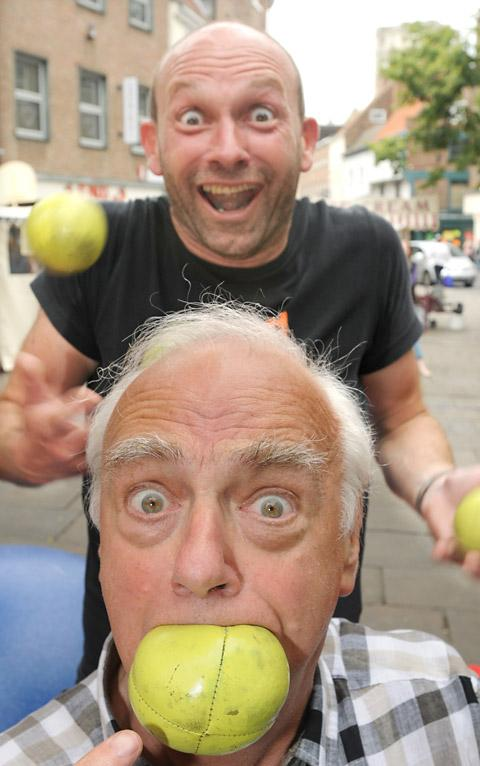 Comedian Roy Hudd joins street performer Mark Wallis in King's Square to support the Save King's Square Campaign
