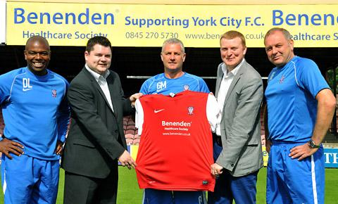 Sponsors Benenden Healthcare with the York City management team at yesterday's official team photocall. From left, Coach Des Lyttle; Neil Barnes, Benenden media manager; Minstermen manager Gary Mills; Benenden's Lawrence Christensen and City's Darron