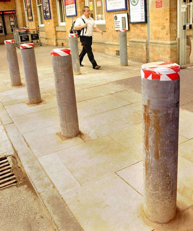 Some of the new anti-terrorist bollards installed at York Station