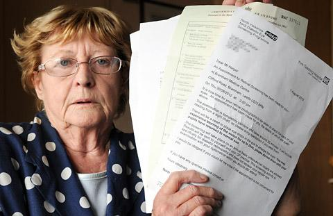 Jean Ashton with the eye appointment letter sent to her former partner Ian Harper