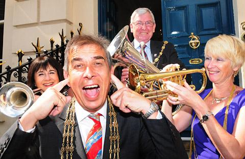 The Lord Mayor of York, Coun Keith Hyman, and civic party members, from left, Sheriff's Lady Jenny Firth, the Sheriff of York, Coun Paul Firth, and the Lady Mayoress, Karen Hyman, promote the concert in the Mystery Plays theatre