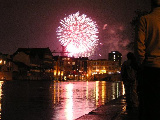 Fireworks explode over York during the city's last civic Bonfire Night display in 2005
