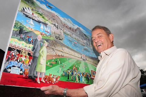 Artist Clive Perry, of Tadcaster, with his original painting marking all 60 years of the Queen's reign
