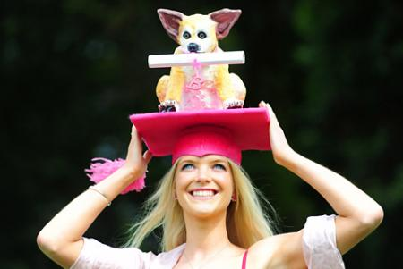 Naomi Smith models a Legally Blonde hat, which York milliner Faye Grosvenor spent two months 