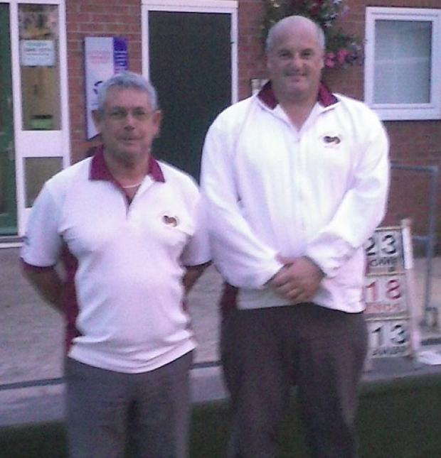 Steve Lea, left, and John Crowe, who won the final of the York CIU Bowls League four wood pairs  competition