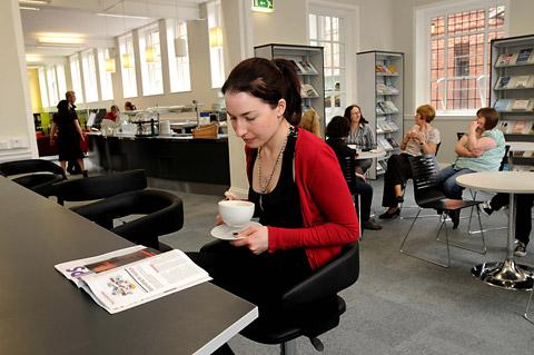 The café area on the ground floor of York Explore, which opened following the revamp in 2009
