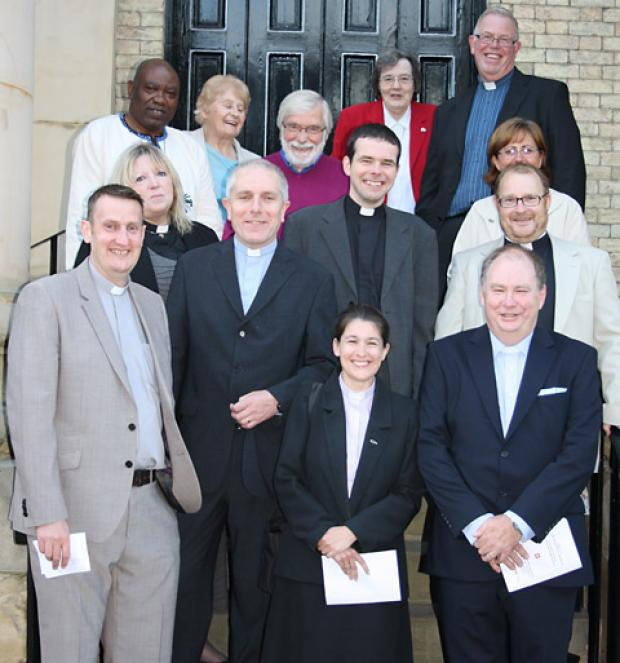 Some of the York Circuit staff on the steps at the Central Methodist Church before the inauguration of the new circuit.