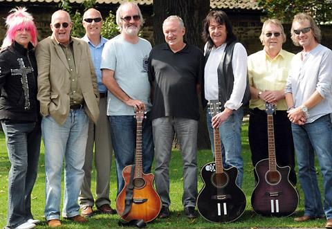Gathered for their reunion in York are musicians, from left, Steve Roberts, Steve McKenna, Geoff Earp, Eric Wragg, Mick Miller, Dave Aldo, Tony Lea and Garry Barrett