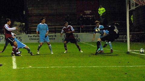 Chris Smith, far left, drills in his first City goal against Rotherham