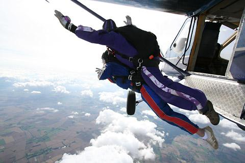 Penelope Worsley as she jumped from the plane at 15,000ft