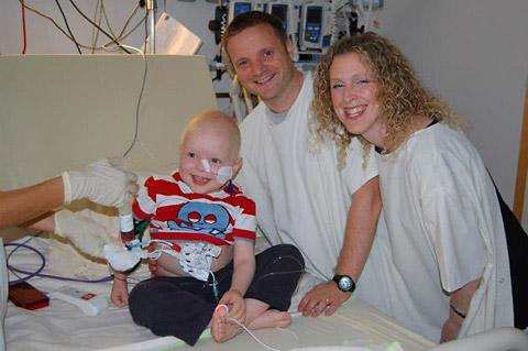 Jamie Inglis with his parents, John and Vicky, in hospital in Germany where he is undergoing treatment