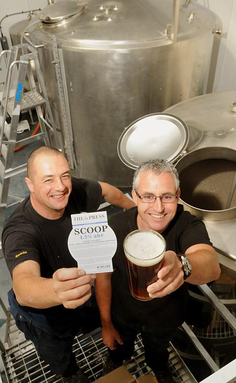 Rudgate Brewery's head brewer Jamie Allen, left, and managing director Craig Lee with the Scoop beer