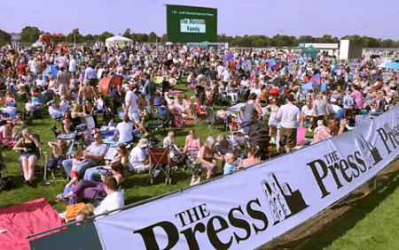 Thousands of racegoers on Knavesmire enjoy The Press Family Raceday