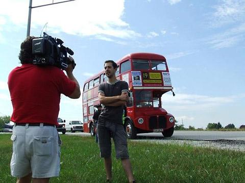 Nathan Jenson is interviewed by Fox News during his previous road trip, from California in Norfolk to California in America