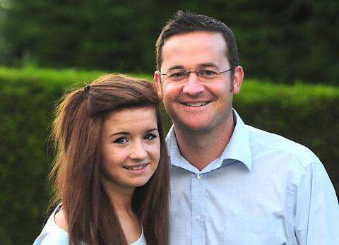 Steve Houlston, of Clifton Moor, York, and his daughter, Kym, who fought meningitis when she was only eight months old
