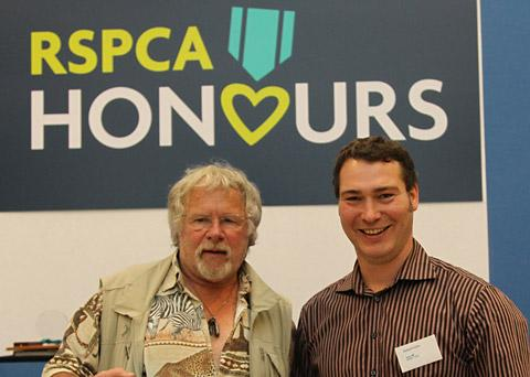 Robert Fuller, right, with celebrity birdwatcher Bill Oddie at the awards event