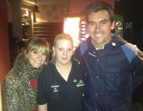 Thomas's staff member Jorden Williams, centre, with Emmerdale stars Zoe Henry and Jeff Hordley