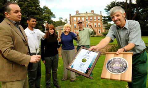 Middlethorpe Hall Hotel head gardener David Barker, right, with the Yorkshire In Bloom Gold Award and the Harrogate Flower Show's Head Gardener Award For Fruit Growing.