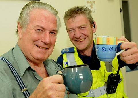 Ray Towell meets  PCSO Lee Johnson who saved his life after he collapsed in Blossom Street, York