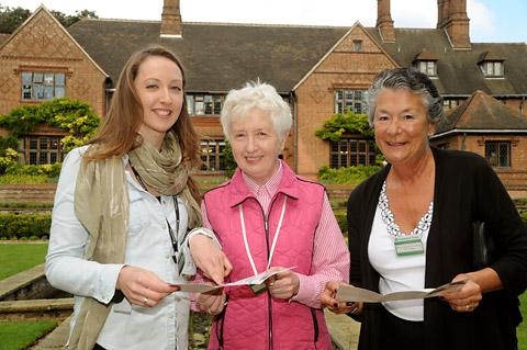Pictured outside Goddards are Kate Gibson, volunteer programme manager, and volunteers Katie Gill and Prue Waite