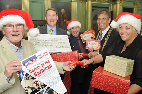 At the Christmas Cheer fundraising launch are, from left, Graham Bradbury, Mark Granger, Duncan Bartlett,the Lord Mayor of York, Coun Keith Hyman, and Anne Platt
