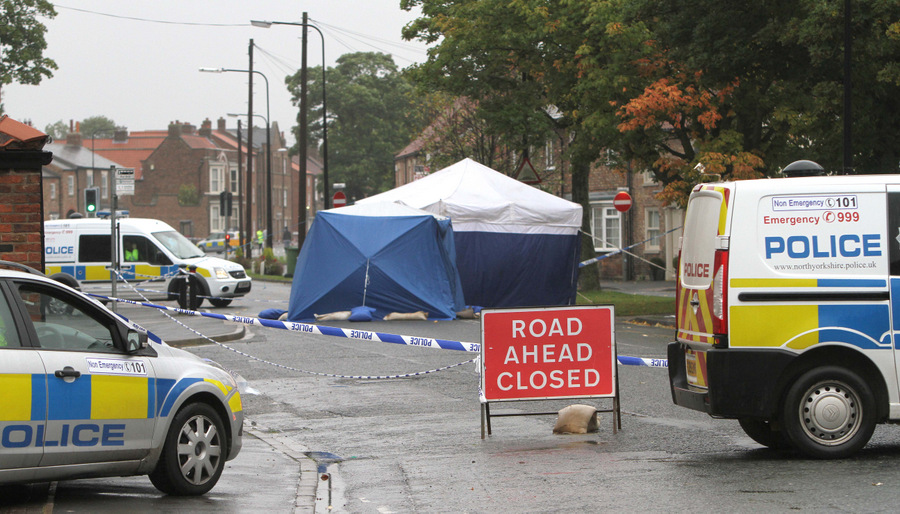 A police forensics tent in Long Street, Easingwold