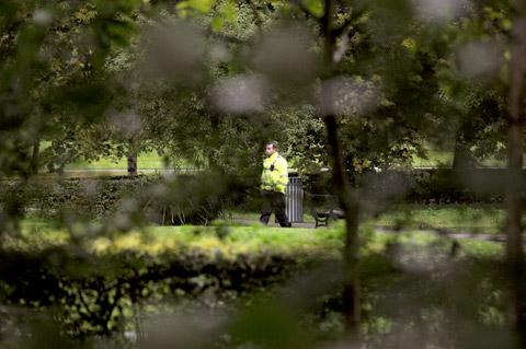 A police officer in Rowntree Park, York, which was closed yesterday following a sex assault on a girl aged under 16