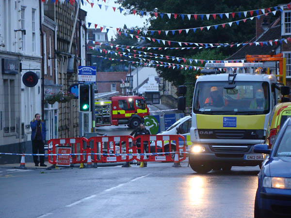 The scene in the centre of Tadcaster this morning where police have closed the bridge over the flooded River Wharf
