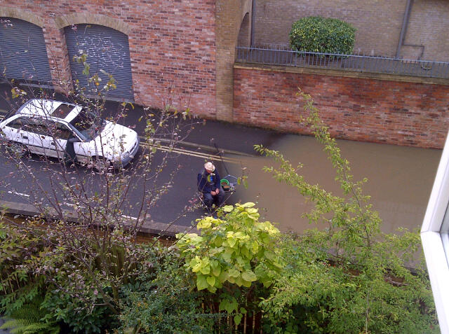 Street fishing in the York floods