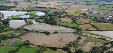 Aerial view showing flood water around Sutton-on-Derwent