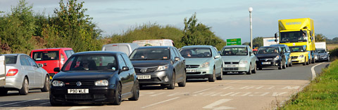 Traffic queues on the York outer ring road as motorists struggle with the morning commute.