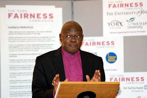 The Archbishop of York, Dr John Sentamu, with the chairman of the commission, Ruth Redfern and Coun James Alexander, the leader of City of York Council
