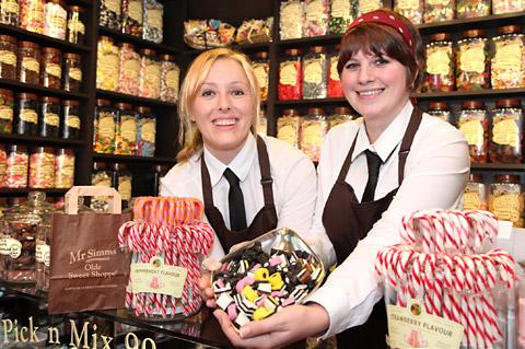 Rachel Harris, left, the new owner of Mr Simm's Olde Sweet Shoppe in Church Street, York, with shop assistant Becky Belcher