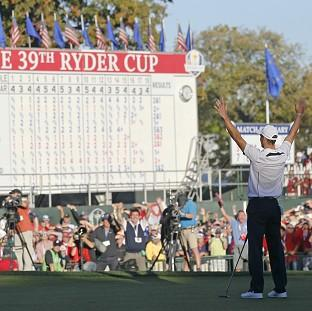 Germany's Martin Kaymer celebrates after winning the Ryder Cup for Europe at the Medinah Country Club