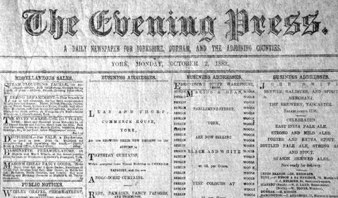 The first Evening Press, which was published on October 2, 1882