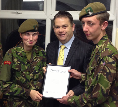 MP Nigel Adams with Cadet Bethany Fletcher and Corporal Joshua Elcock