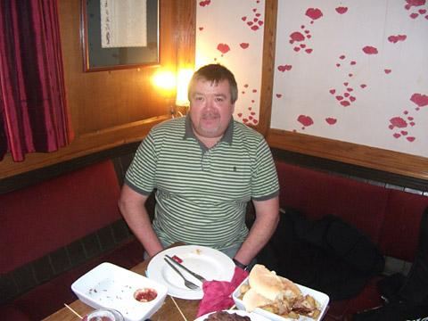Dave takes a deserved break after demolishing his meal challenge at the Bay Horse in Fulford