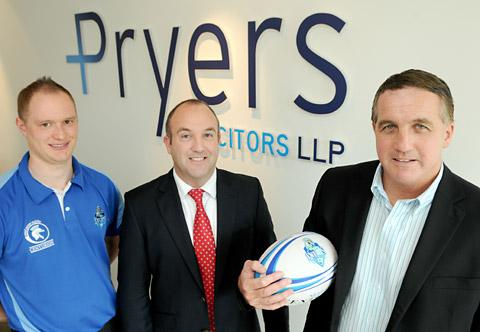 Pryers Solicitors senior partner Ian Pryer, right, with Knights general  manager Ian Wilson, left, and commercial manager Ross Potter