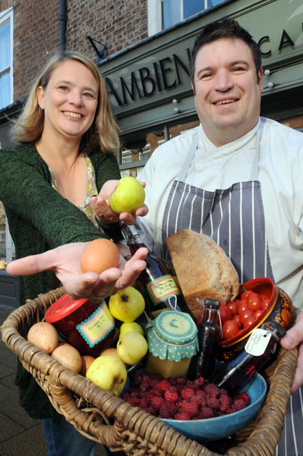 Apples For Eggs Food Swap organiser Sue Jewitt with the Ambience Café's Guy Whapples