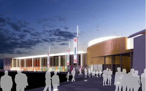 An artist's impression of how the community hub at Monks Cross, part of the stadium scheme, could appear