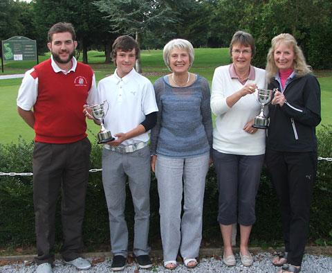 Martin Anderson, left, with fellow winners of the gents' and ladies' Drake's Trophy at Allerthorpe Park GC, from left, Josh Hill, lady captain Marian Pearson, Linda Underwood and Helen Kettlewell