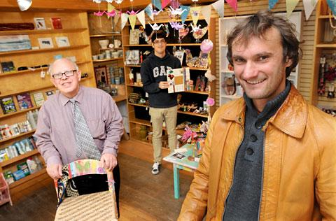Members of staff from We Are Your Emporium in Micklegate, from left, Ronnie Milner, Sean Merriman and gallery manager Paul Jones celebrate after successfully gaining an extended lease until Christmas