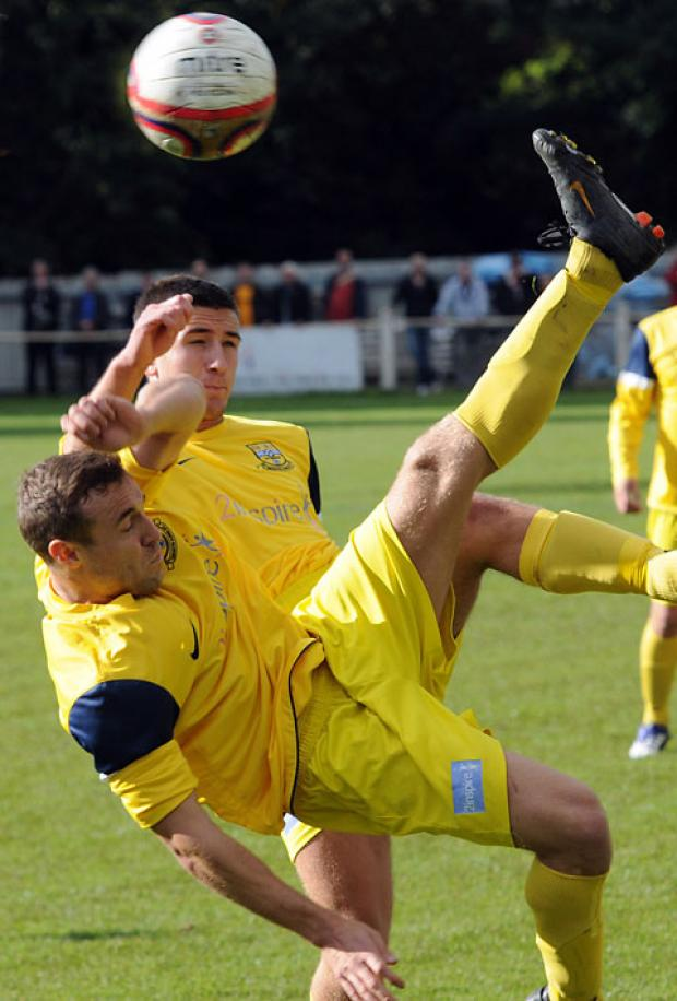 Tadcaster Albion's Steve Jeff attempts an acrobatic overhead kick in Saturday's FA Cup defeat to Boston