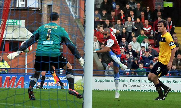 York City forward Ashley Chambers fires a chance into the sidenetting during Saturday's 0-0 draw with Rotherham United in npower League Two