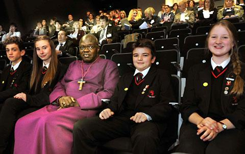 The Archbishop of York Dr John Sentamu and  youngsters at the Young Leaders Award  presentation day at Manor School