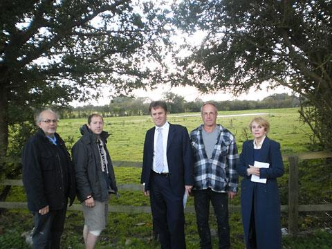 Holtby parish council chairman David Hughes, Coun Nigel Ayre, Julian Sturdy MP, Coun Mark Warters and Murton parish council chair Isobel Waddington, at the site of the proposed stray