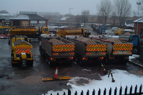 Gritters load up at a depot in Selby